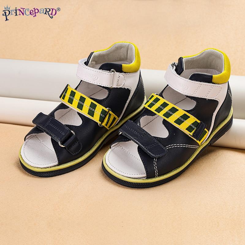 Princepard Girls Sandals Kids Orthopedic Leather Shoes Sweet Princess Pink and Blue Corrective Sandalas for Toddler Boys Girls enlarge