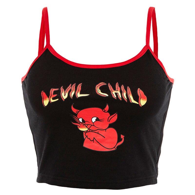 Модная женская летняя тонкая кофточка с открытой спиной, топ, уличная одежда, топы для девушек, сексуальный, с принтом демона, на тонких бретелях, из кусков, укороченный топ