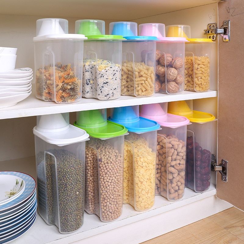 1.9L Dry Food Storage Container Plastic Box Cereal Dispenser Pasta Snack Food Storage Containers Airtight Containers organizer