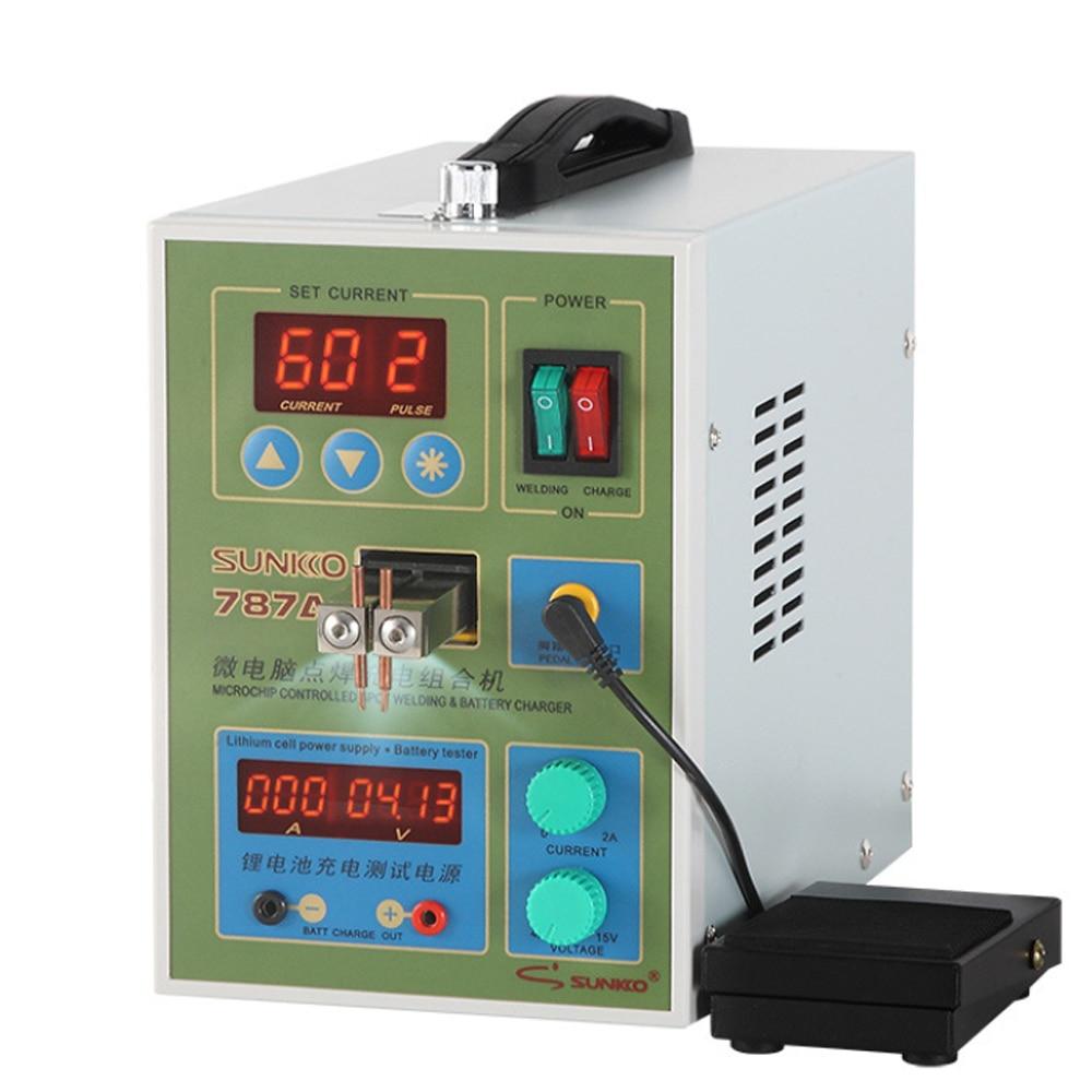 SUNKKO787A + двойной импульсный точечный сварочный агрегат 18650 литиевая батарея Сварочный аппарат с функцией проверки нагрузки ЕС вилка 220V