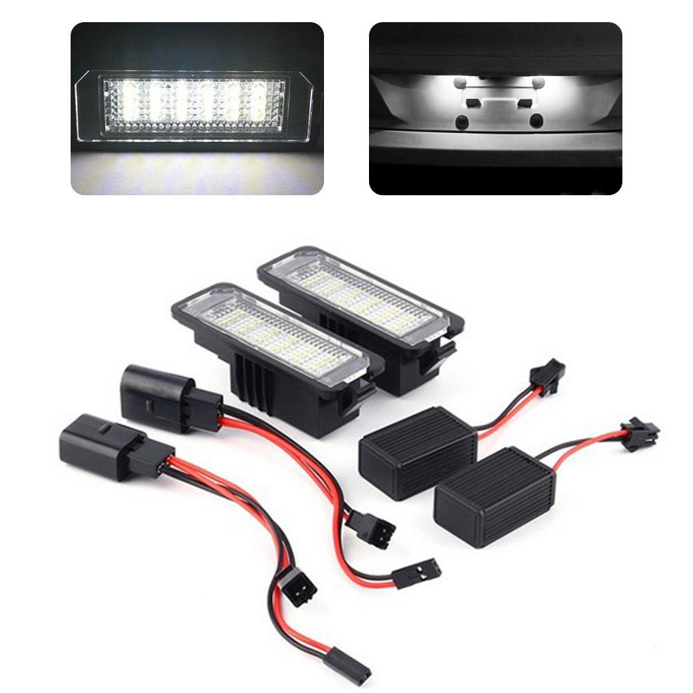 2 uds. Lámparas de luz de LED para placa de matrícula de 12V 6000K LED accesorios exteriores de coche lámpara de señal para GOLF 4 5 6 7 Polo 6R