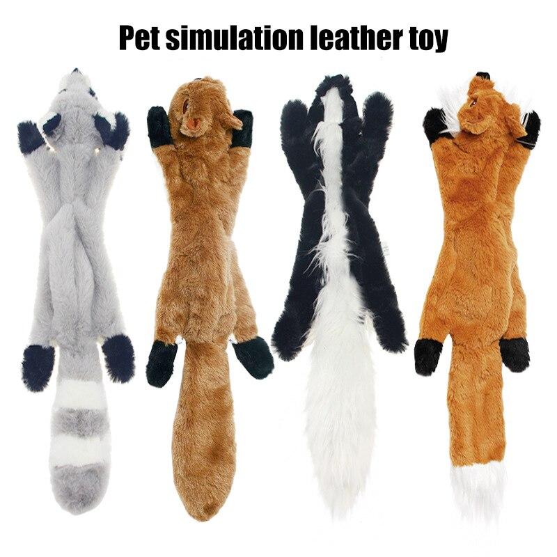 Nuevo Animal de juguete de felpa de simulación para mascotas, juguete de felpa suave y chirriante, juguete con sonido para perros, ardilla, mapache/zorro