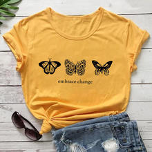 Embrance Change Butterfly Printed 100%Cotton Women Tshirt Unisex Casual Summer T Shirt Inspirational
