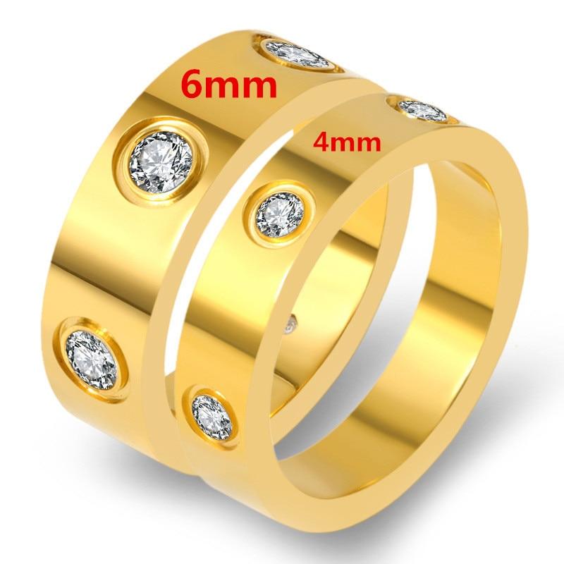 Trendy Stainless Steel Rose Gold Color Love Ring for Women Men Couple CZ Crystal Rings Luxury Brand Jewelry Wedding Gift KK050-1