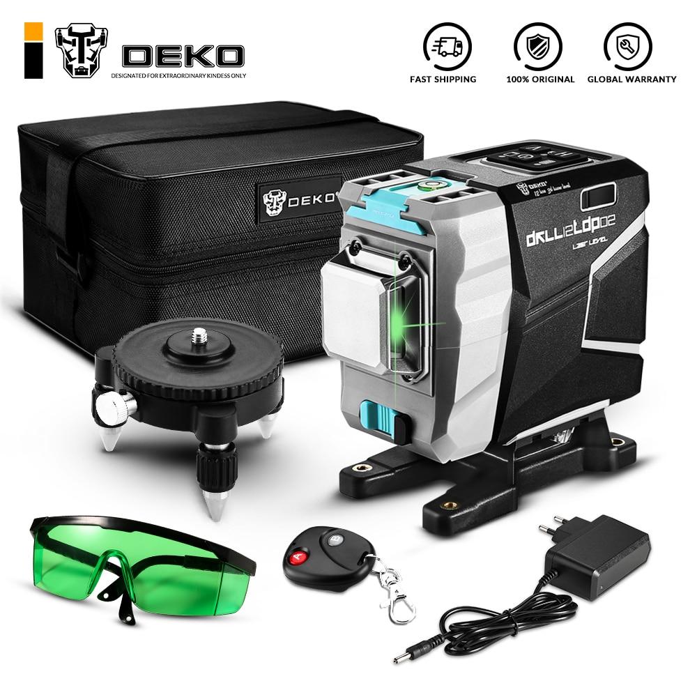 DEKO DKLL12tdP02 Series 12 Lines 3D Green Laser Level Horizontal&Vertical Cross Lines With Auto Self-Leveling, High-Precision