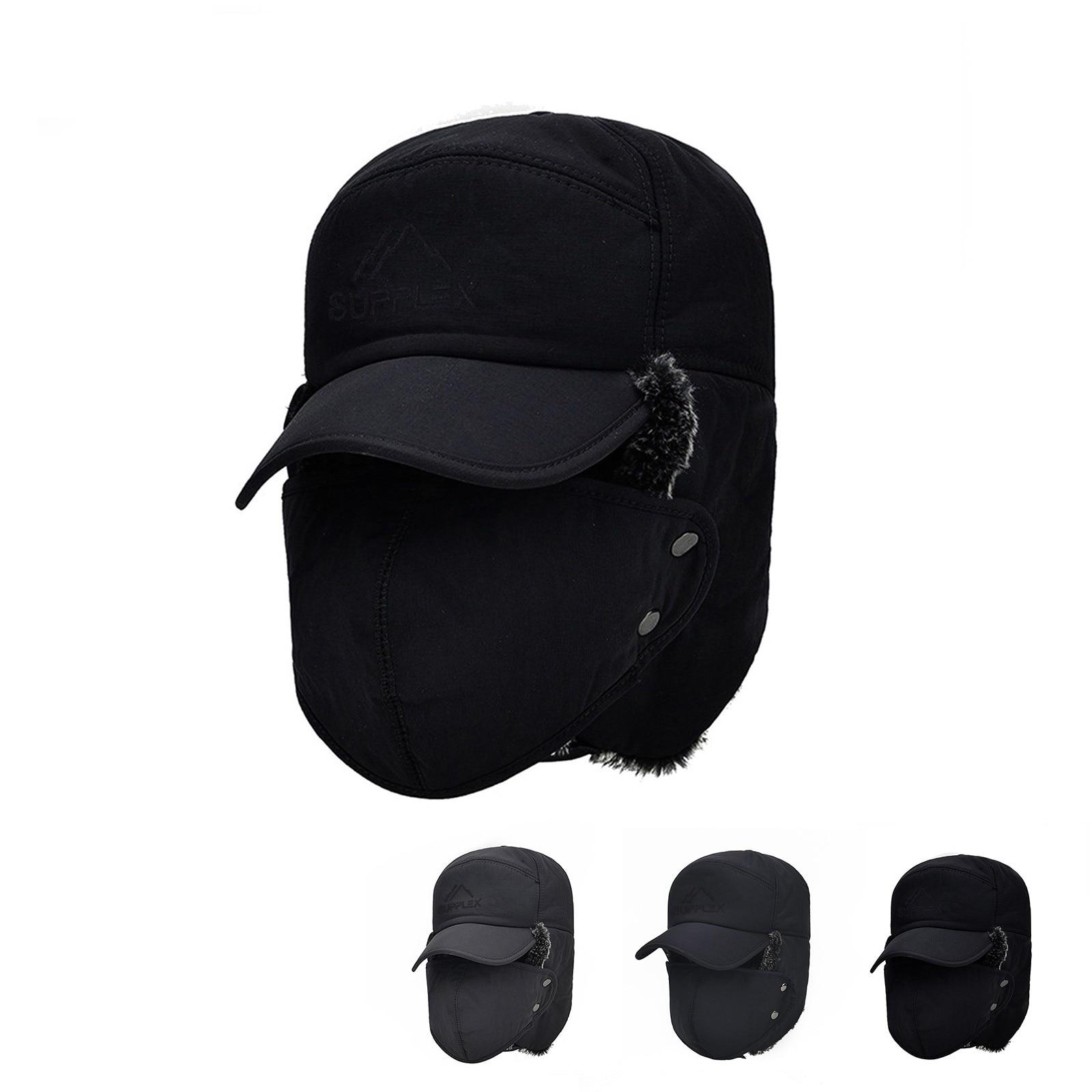 D Windproof Warm Hat Men Women Bomber Faux Fur Ear Flap Hat Cap Winter Ski Trooper Trapper Solid Col