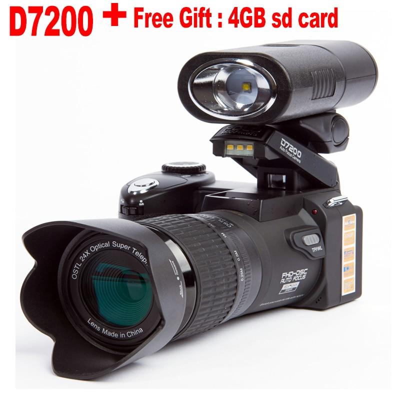 D7200-كاميرا رقمية 13 ميجابكسل DSLR ، عدسة تليفوتوغرافي 24X ، تقريب رقمي 8X ، عدسة بزاوية عريضة ، مصباح كشاف LED