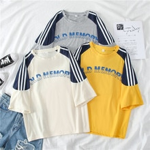 Cotton summer Half sleeve women casual fashion t-shirts letter Ins Hot harajuku Plus Size short Tops Female melinda style FD4120
