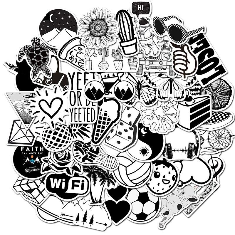 Черно-белые наклейки граффити, 10/30/50 шт., водонепроницаемые Съемные Наклейки на чемодан, скейтборд, декоративные игрушки, оптовая продажа