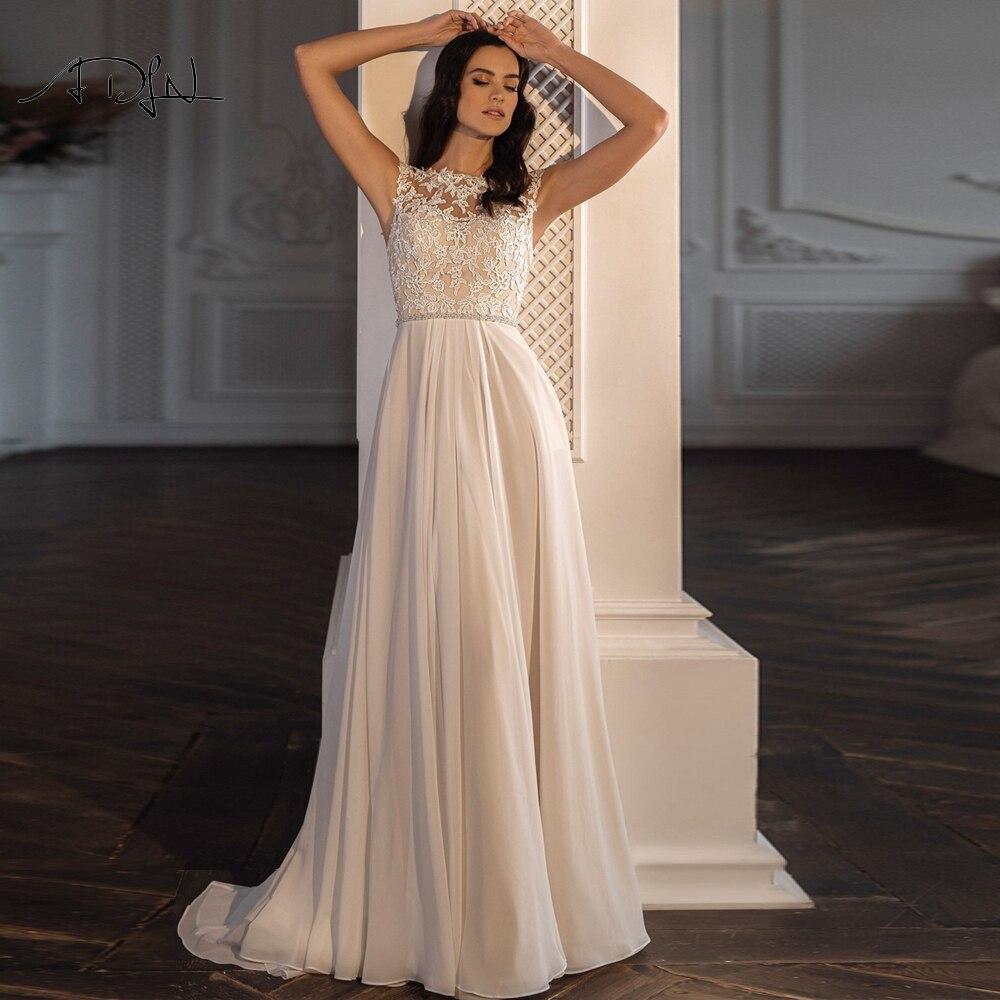 ADLN جوهرة قبعة الأكمام الشيفون فساتين زفاف الشاطئ مطرز زين بوهو فستان عروس حجم كبير فستان زفاف