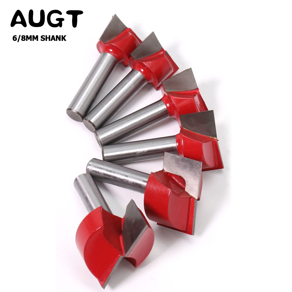 AUGT 6/8mm Shank Cleaning Bottom Router Bits Diameter Carbide Cutters For Wood Milling Cutter Woodworking Surface Planing Router augt 8mm shank cutters cleaning bottom engraving bit solid wood carbide router bits woodworking tools cnc milling cutter endmill