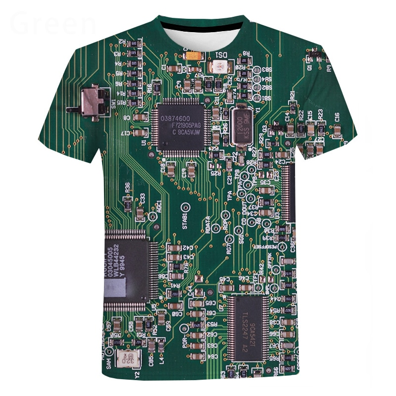 Electronic Chip Hip Hop T Shirt Men Women 3D Machine Printed Oversized T-shirt Harajuku Style Summer Short Sleeve Tee Tops