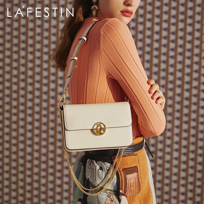 LA FESTIN 2020 جديد بسيط سلسلة صندوق مربع صغير موضة جلدية الكتف حقيبة ساعي الجهاز حقائب النساء