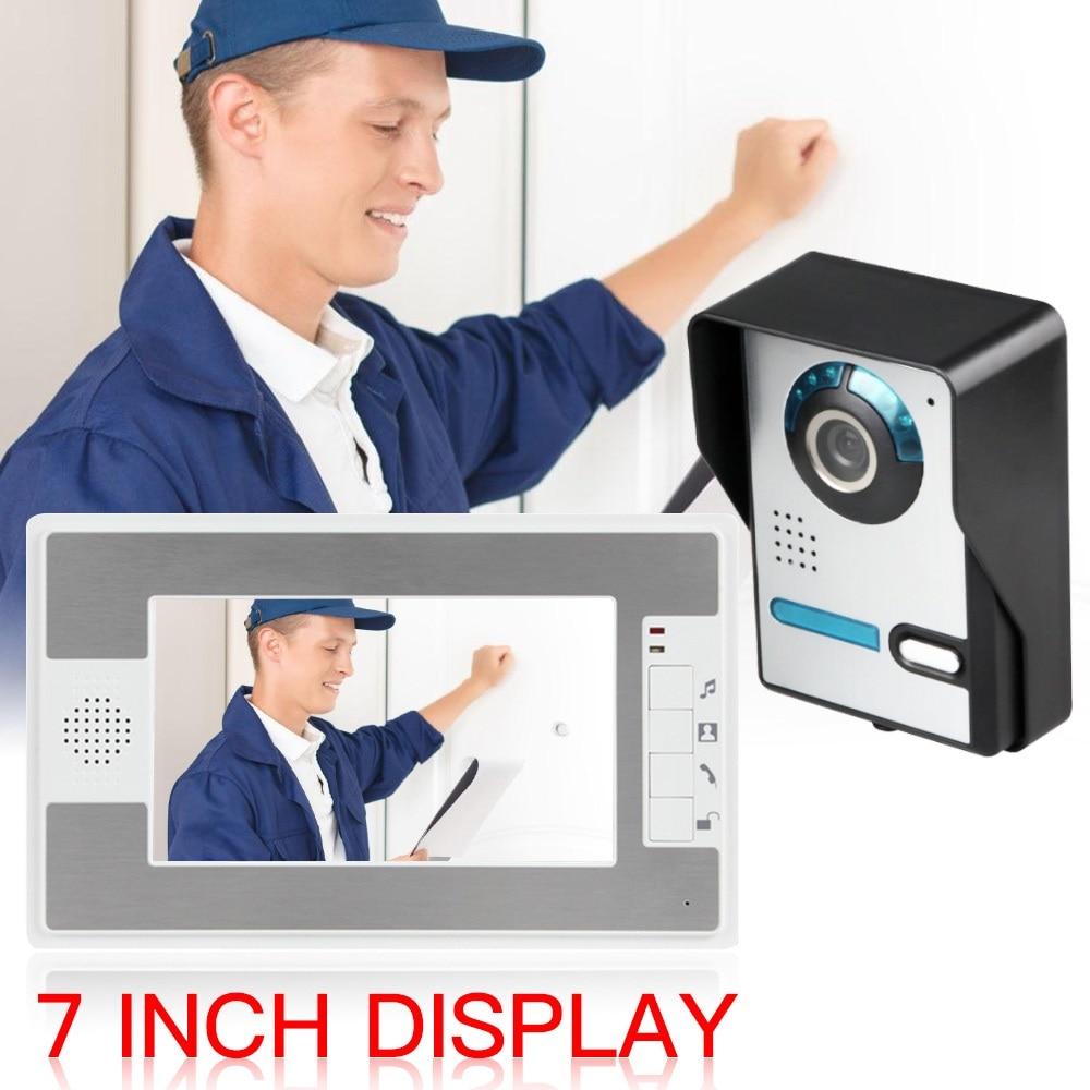 Sistema de segurança de porteiro, campainha de 7 polegadas, sistema de interfone, visão noturna e à prova d água para casa