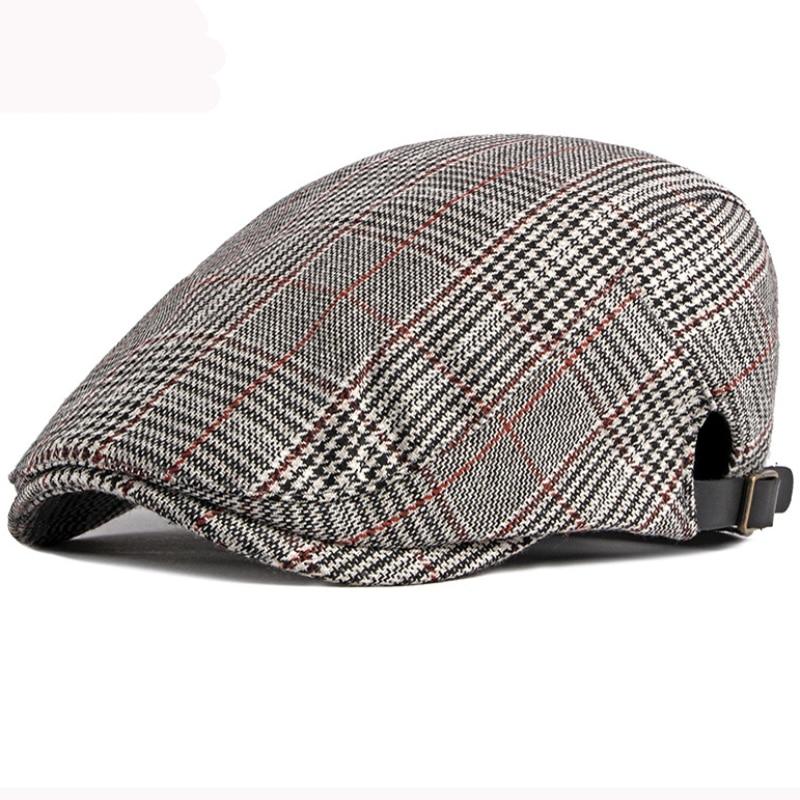 2021 Beret Spring Autumn Men Women Hat Vintage Plaid Adjustable Cabbie Ivy Newsboy Flat Cap Artist Painter Hat Retro Beret Cap недорого