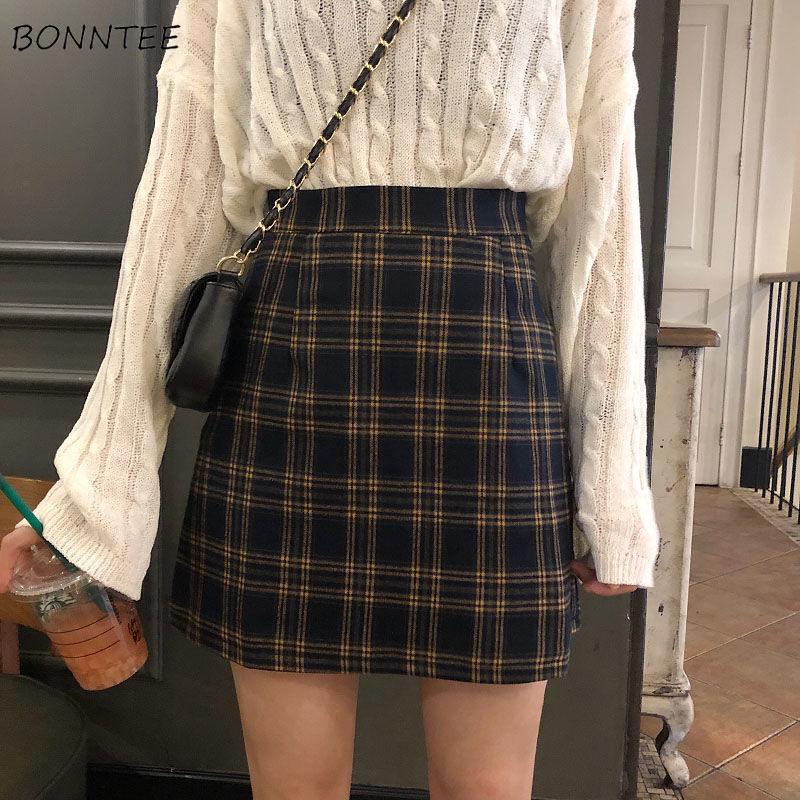 Skirts Women Retro Plaid Summer Mini Skirt A-line Ulzzang High Waist Students New Arrival Fashion Girls Female Stylish Fit 2XL