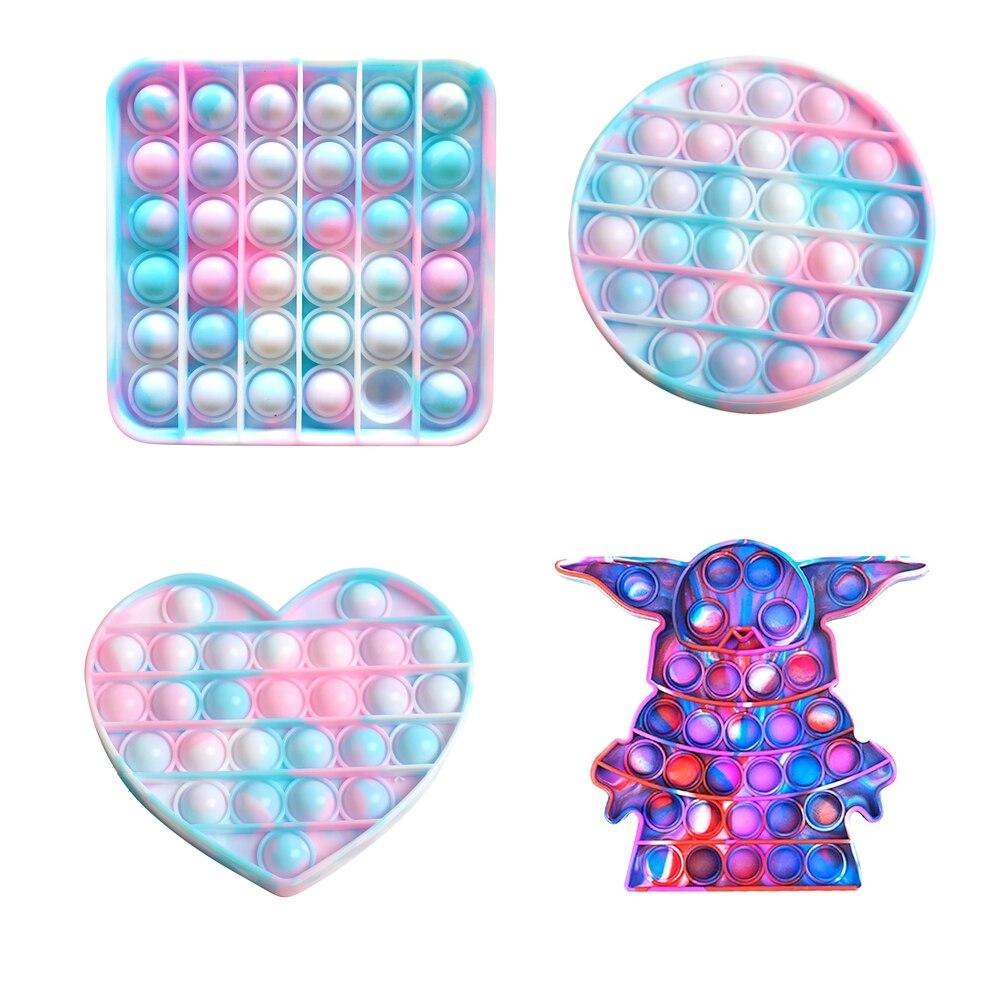 Fidget Toys Anti-Stress Push Pops It Bubble Sensory Rainbow Fidget ToyRestore Emotions Stress Reliever Toy for OCD Anxiety
