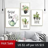 Peinture sur toile Cactus plante verte  imprimes botaniques  citation de maison douce  affiches dart murales  decoration de piece  cadeau
