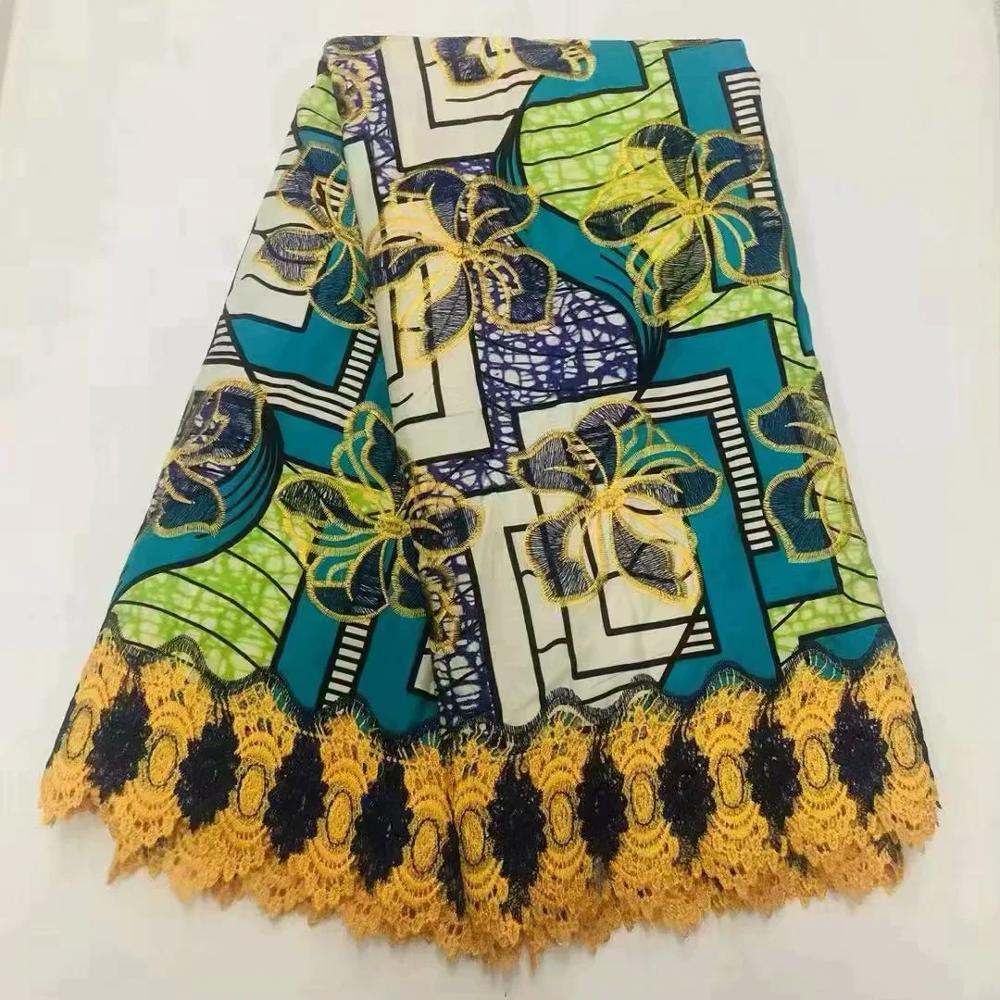 Cera nigeriana de alta calidad con tela de encaje de tul, tela africana de red francés, encaje bordado de cera Ankara, 6 guiones para fiesta! O52
