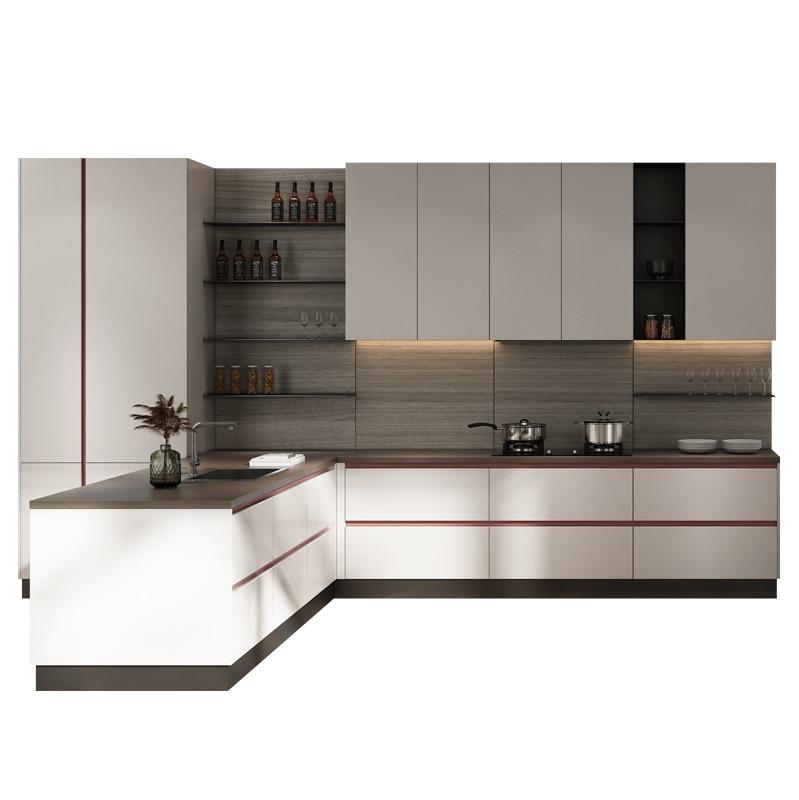 عموما خزانة مطبخ مخصص كامل ديكورات منزلية حجر الكوارتز كونترتوب خزانة مطبخ مخصص فتح الحديثة
