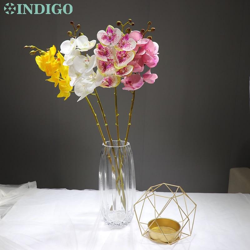 INDIGO - 3D Printing Petal Phalaenopsis Champagne Orchids (7 Flowers/Stem) Silk Flower Wedding Flower Floral Party Free Shipping