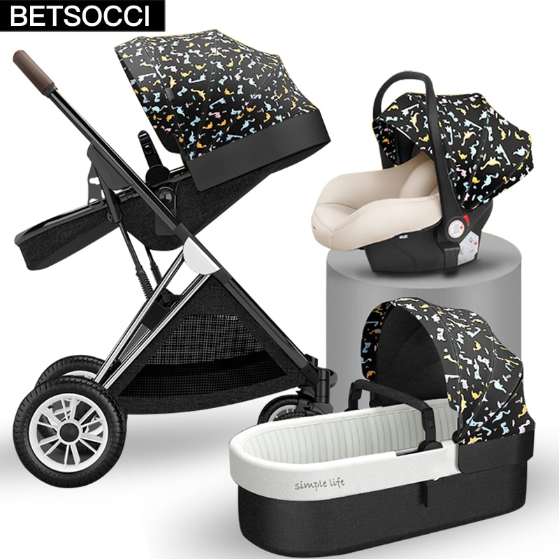 BETSOCCI Baby stroller high landscape 2 in 1/3 in 1 can sit, lie down and lightly fold two-way trolley free shipping