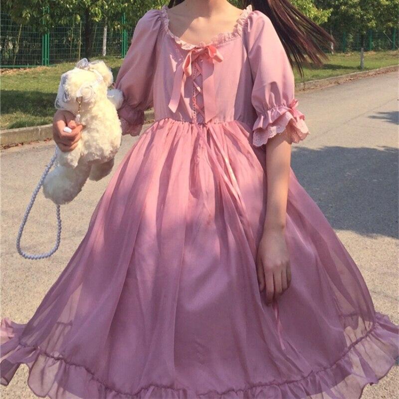 Sweet Lace Ruffle Design Niche High Waist goth lolita  victorian dress  gothic dress  renaissance  tea party  fairy dress