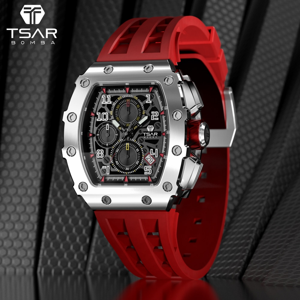 TSAR بومبا ساعة للرجال تصميم رياضي فاخر Seiko VK67 حركة الياقوت مرآة مقاوم للماء الفولاذ المقاوم للصدأ ساعة اليد رجالي هدية