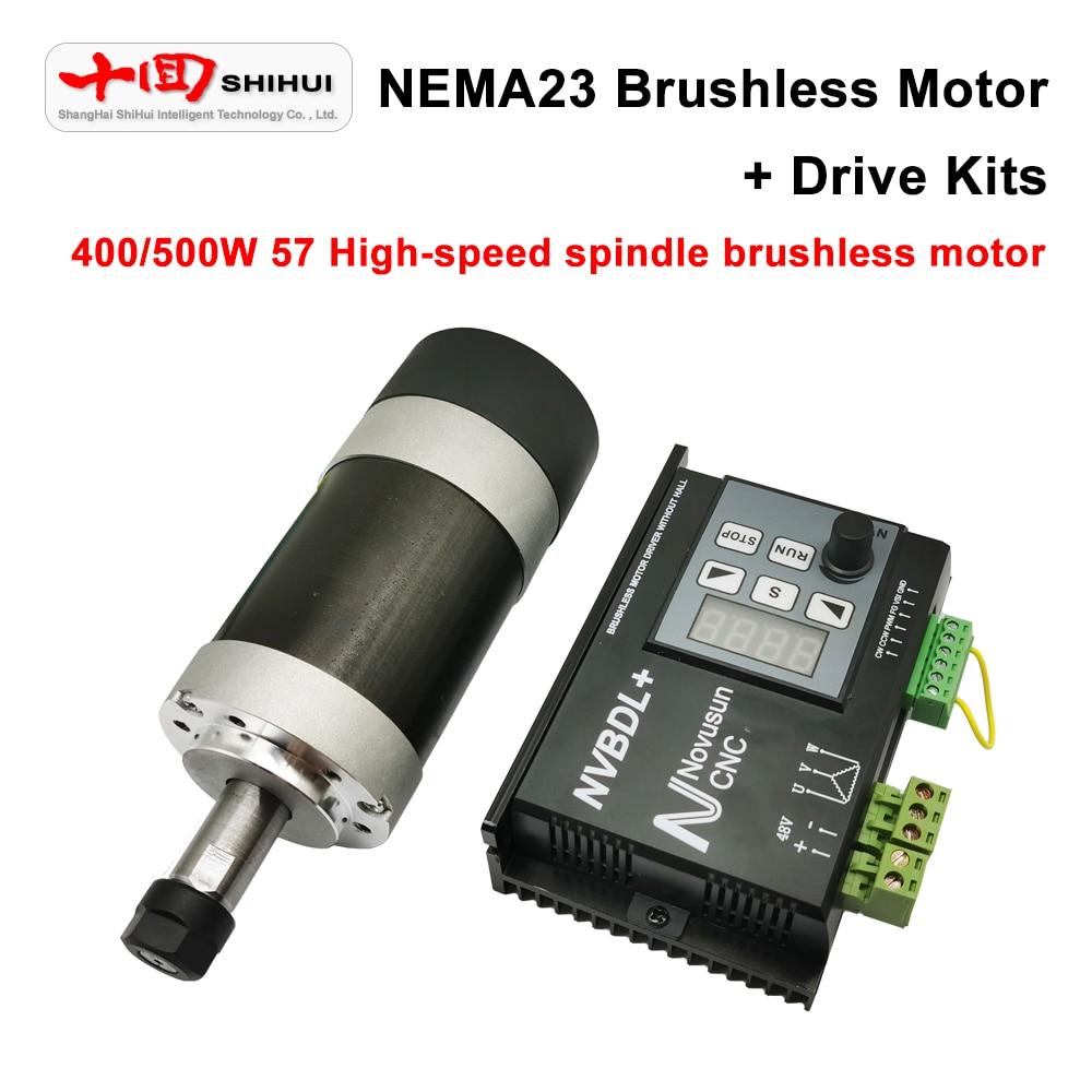 NEMA23 فرش السيارات 57 عالية السرعة فرش المغزل موتور سائق مجموعات تصنيف 400 واط/500 واط لا تحميل 12000 دورة في الدقيقة نك عدة