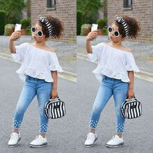 Toddler Kid Baby Girl Off Shoudler Top Shirt Denim Long Pants Outfit Clothes Set