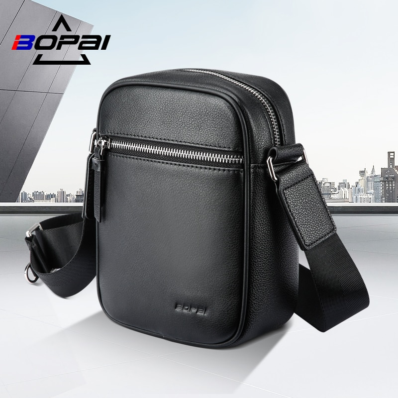 BOPAI Genuine Leather Handbags Light Mini Vintage Cow Men Bag Fashion Crossbody Casual Shoulder Bags For Male