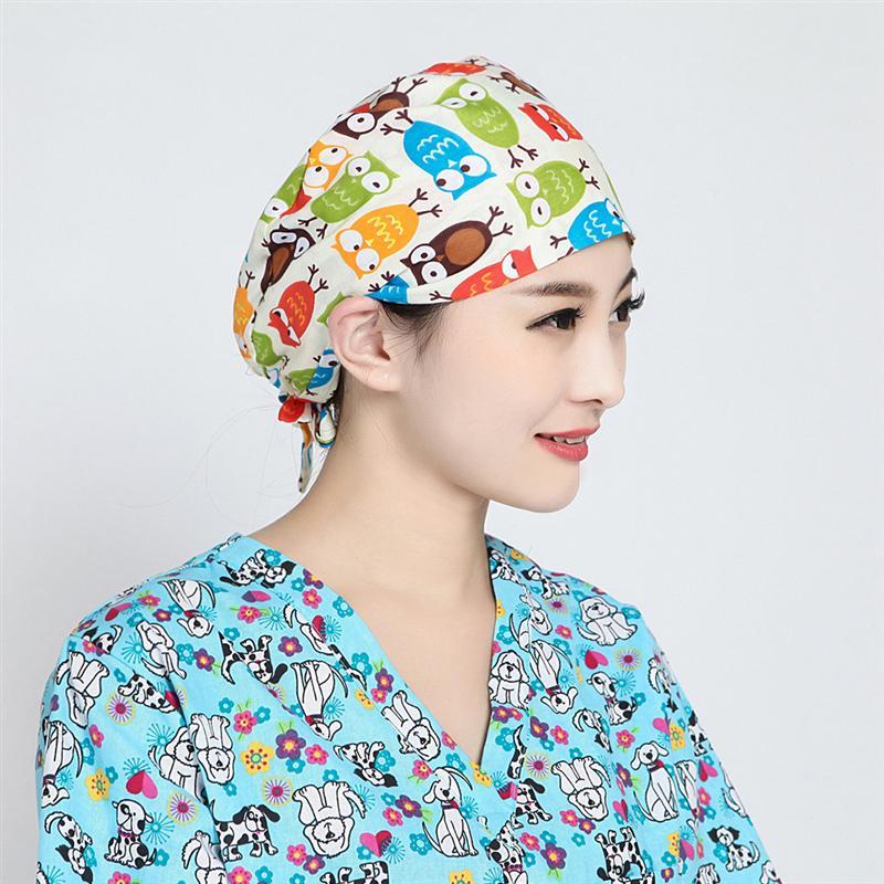 1 Pc Nightcap Cartoon Prints Nursing Hats Sweat Absorbing Hat Salon Hair Color Cap Hair Loss Cap Hair Care