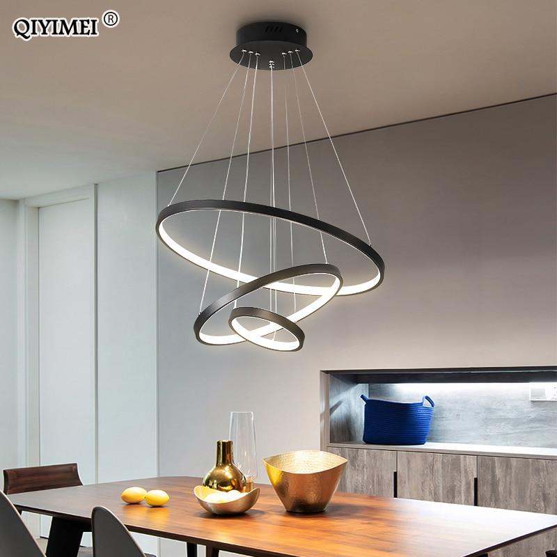 Luces led colgantes de marco blanco y negro para cocina, lámpara colgante...