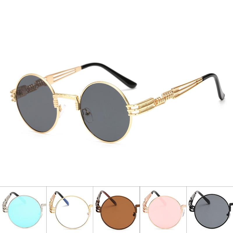 Steampunk pesca gafas de sol hombres de Metal, gafas redondas de sol hombre claro lentes de sol para dama Hip Hop gafas de sol Steampunk para los hombres y las mujeres