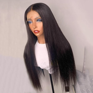 Synthetic Lace Front Wigs Silky Straight for Women Heat Resistant Fiber Hair Glueless Wigs Daily Wig Middle Part