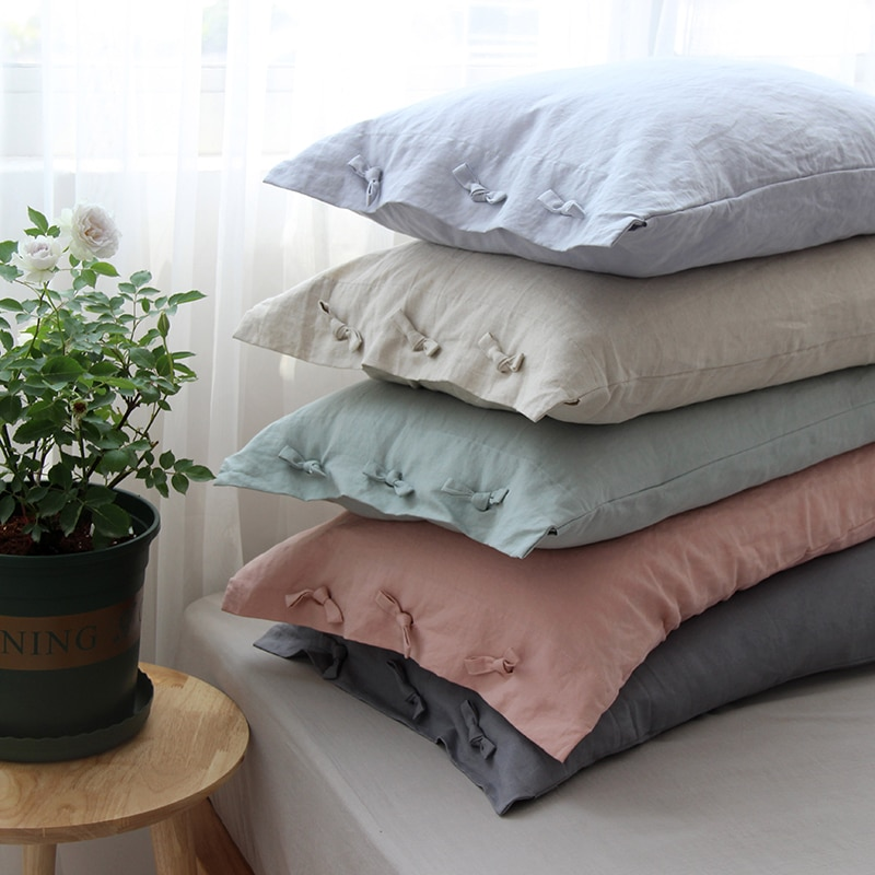 Solid Color Cotton Linen Pillow Case with Bow-knot Pillow Cover Wedding Gift Luxury Pillowcase Decorative Pillowcases 48x74cm