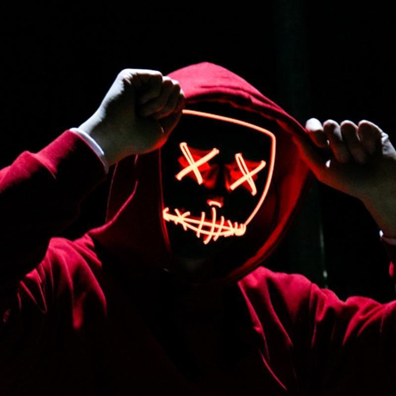 Halloween LED masques lumineux horreur Rave masque allumer pour Festival Cosplay Costume drôle élection fête décor Purge masque