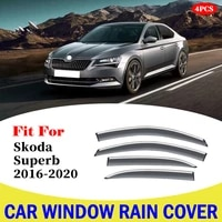 for skoda superb 2016 2020 car window deflectors car wind deflector sun guard rain vent visor cover styling accessories