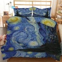 van gogh starry night 3pcs duvet cover satin bedding set twin size 180x220cm bedspread nordic bed cover