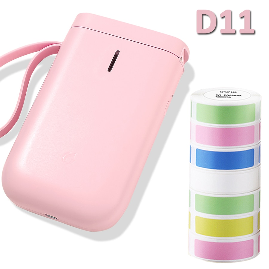 Pink Niimbot-طابعة ملصقات ، ملصقات ذاتية اللصق ، حرارية ، بلوتوث ، للمنزل والمكتب ، مع كابل USB ، 3 لفات D11