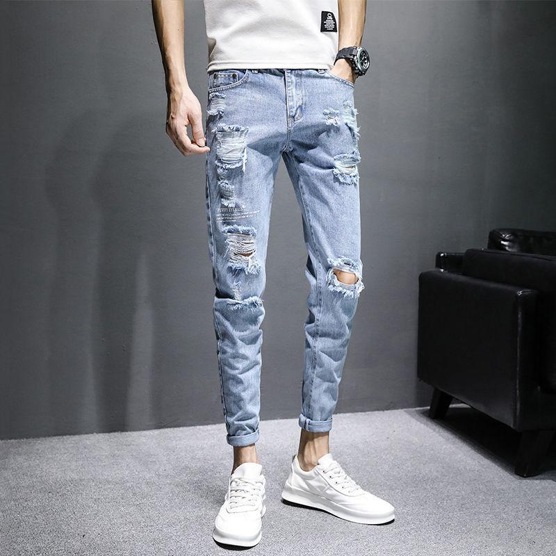 Men's jeans, slim fit, hole pants, spring autumn casual men's pants,Ripped jeans,Ankle-length Pants,pencil pants,skinny pants