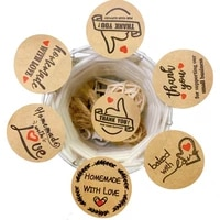 100 pcslot vintage homemade with love thank you kraft paper labels round sticker gift packaging seal baking cards tools