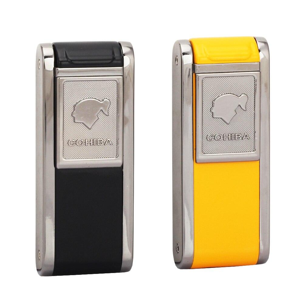 Encendedor de bolsillo COHIBA, butano a prueba de viento, 2 mechero de cigarros antorcha portátil de Metal, encendedor de Gas para cigarrillos eléctricos