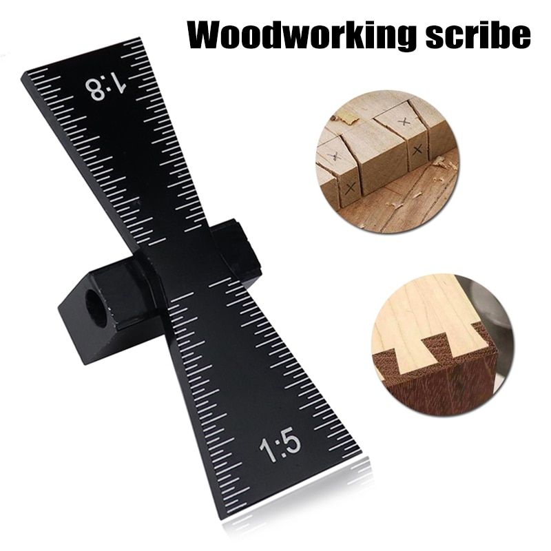 Dovetail Jig marcador de guía de aleación de aluminio Scriber juntas de madera calibre herramienta de carpintería MU8669