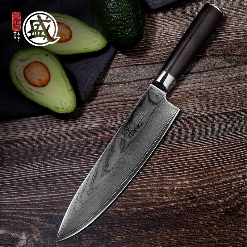 Mitsubishi moto SAKARI 8''inch اليابانية VG10 دمشق الصلب الأساسية يدويا سكين الطاهي خشب الأبنوس مقبض علبة هدايا خشبية