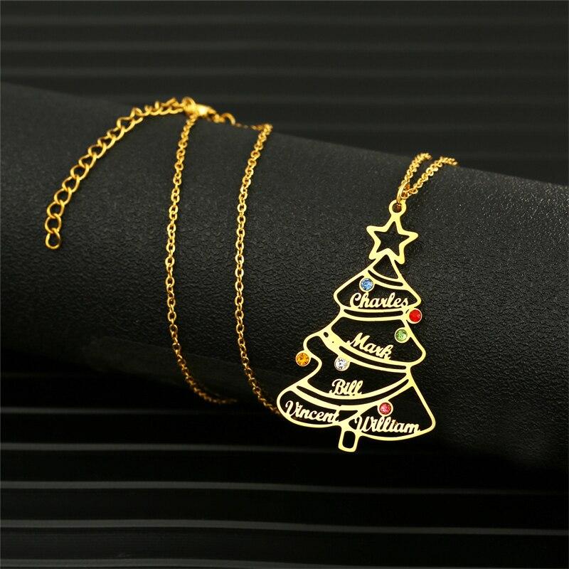 Ожерелье с именем на заказ для женщин, подвеска в виде рождественской елки с именем 1-5 и камнем по месяцу рождения, ювелирные изделия из нерж...