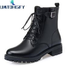 Black Genue Leather Martin Boots Flat Ankle Boots Women Plus Velvet Winter Thick Wool Cotton Shoes P