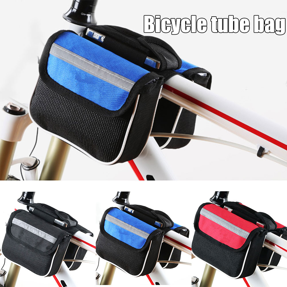 Bolso delantero de tubo superior de bicicleta bolso de almacenamiento impermeable para ciclismo al aire libre para llaves de cartera gafas de sol YA88