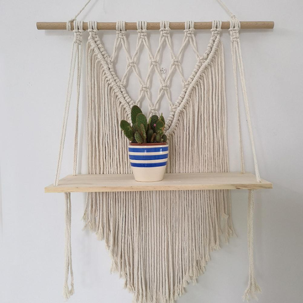 Macramé de doble capa de madera para colgar en la pared estante Marco de partición decoración Hogar cesta de plantas soporte de cesta de flores decoración Boho