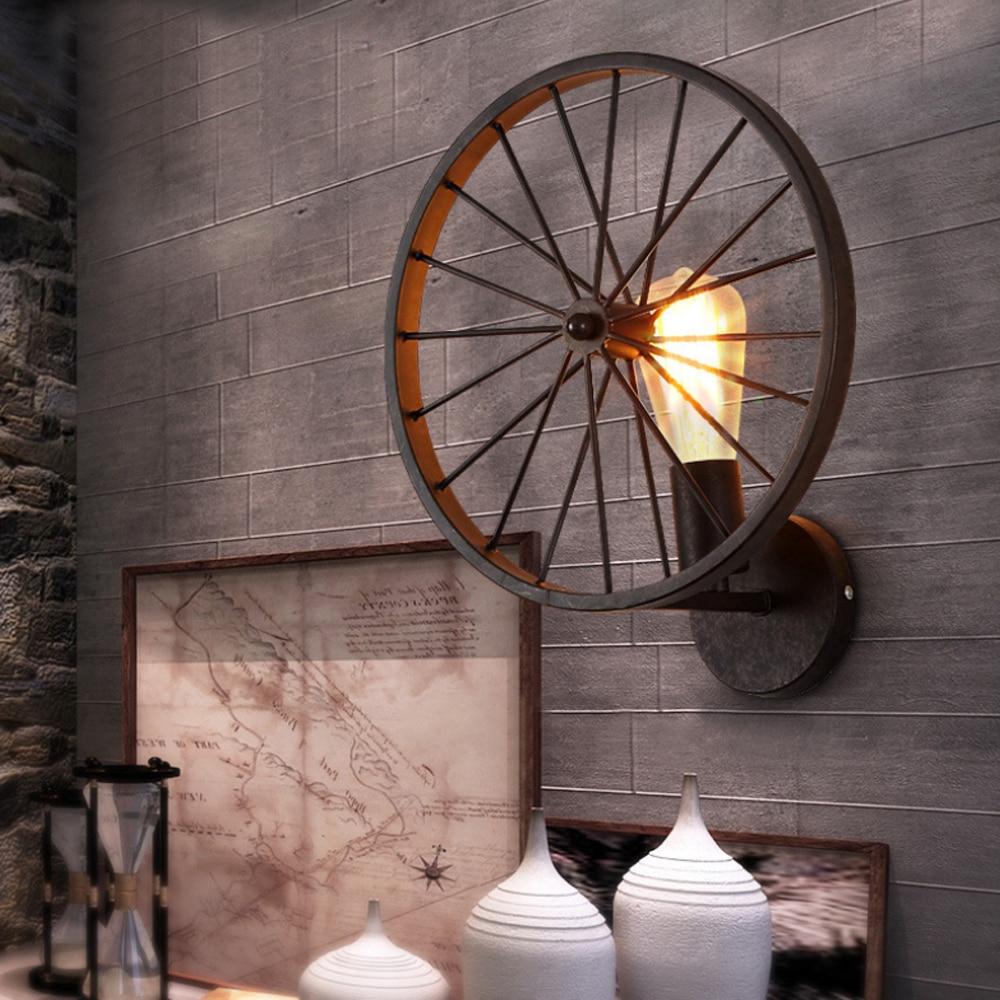 Retro Loft pared Vintage lámpara de luz de la rueda de Metal...